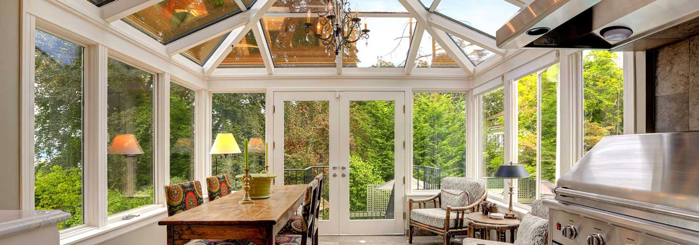 wonderful sunroom white with kitchenn