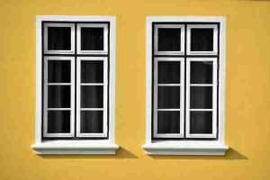 closed white wooden framed glass windows