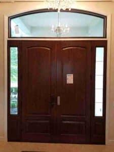 wood double entry door installation